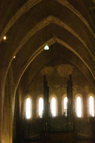 Zicht op de raam partijen met hun typische Gotische vorm.